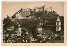Alte SW-Ansichtskarte von Salzburg mit Dom und Festung   (912)