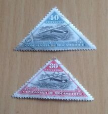 2 x 1935 Mocambique (Mozambique) 'Airplane over Beira' triangle stamps