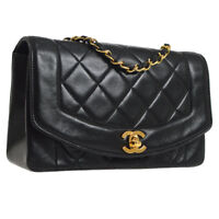 Auth CHANEL Diana Quilted CC Single Chain Shoulder Bag Black Leather AK25676j