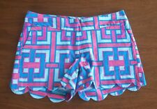 Crown & Ivy Petites Women's Size 6P Blue/Aqua/Pink SCALLOPED HEM Cotton Shorts