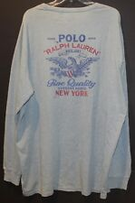 Polo Ralph Lauren Big and Tall Mens Faded Blue Polo Eagle L/S T-Shirt NWT 4XB