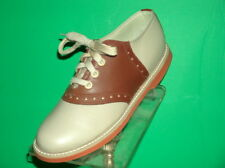 Muffy's Classic BROWN/beige Saddle Oxford Shoes Leather US Wms