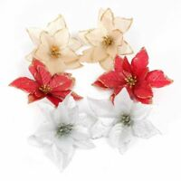 Glitter Poinsettia Flower Christmas Tree Decorations Home Xmas New Year 10pcs