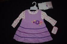 Nanette Nannette Girl Dress Size 12 Months M 3 Piece Set Tights Purple Flowers