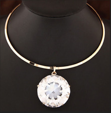 Bib Pendant Choker Silver Huge Large Big Clear Gem Crystal Rhinestone Necklace