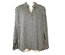 J Jill Womens Black White Buffalo Check Spring Popover Top Sz Small Blouse Shirt
