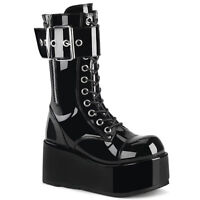 Demonia PETROL-150 Men's Black Goth Combat Cyber Cosplay Platform Mid-Calf Boot