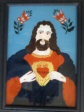 VINTAGE OOAK SANDL SACRED HEART PRIESTS CHAMBER REVERSE GLASS PAINTING