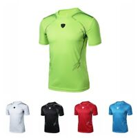 Men's Summer Dry Fit Athletic Shirt T-Shirt Fitness Sport Gym Running Tops M-2XL