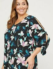 Womens Plus Size 2X 22/24 Splits on 3/4 Sleeves Blouse Top Catherines