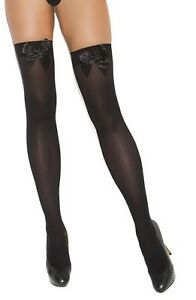 sexy ELEGANT MOMENTS opaque SATIN bows THIGH highs HI stockings HOSIERY nylons