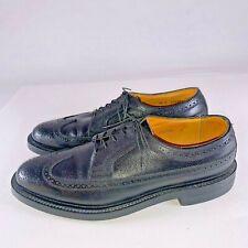 Vintage Florsheim Imperial Black Wingtip Dress Business Shoes Sh