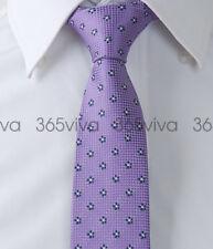 Dark Violet White Dots Skinny Slim Narrow Woven Silk 6.5 cm Wide Necktie Tie