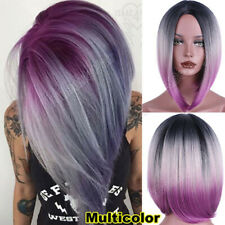 Purple Pink Blonde Grey Short Hair Style Straight Synthetic Wigs Party Wigs