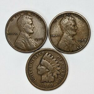 1909 3 Coin Penny Type Set - 187003V