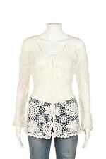 MAC & JAC Crochet Cardigan Top Small White Floral Design Long Sleeve Button Down