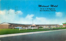 Roadside Postcard Midwest Motel, Stockton, Kansas  - used in 1963