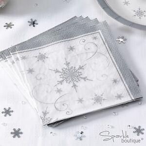 SILVER SNOWFLAKE Luxury Christmas Paper NAPKINS x16 -Xmas Party- RANGE IN SHOP!