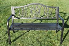 Metal Garden Bench with Arch Back Cast Iron 'Floral' Design Back Rest