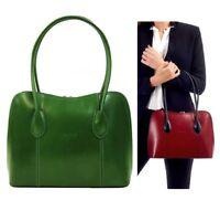 Ladies Handbag Italian Leather Green Vera Pelle Womens Classic Tote Shoulder Bag