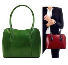 Ladies Leather Handbag Green Vera Pelle Classic Italian Shoulder Tote Bag