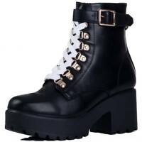 Womens Chunky Platform White Black Lace Up Block Heel Ankle Boots Shoes