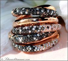NOBEL!  Mehrreihiger Ring mit braun schwarz weiß Brillanten 4,27 ct RG750 20100€