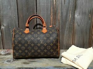 AUTH LOUIS VUITTON MONOGRAMED CANVAS/LEATHER SPEEDY 30 HANDBAG (DAMAGED)