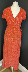 Womens Los Angeles Atelier & Other Stories Red Spot Print Wrap Dress Size 6