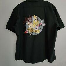 Lucky 13 WWII Military Pin Up Babe Bombs Away Button Up Work Shirt XXL Red Kap