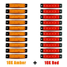 10X Amber + 10X Red 6 LED Side Marker Indicator Lights Car Truck Trailer 12V