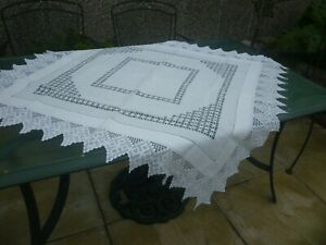 small antique tablecloth hand crochet and drawn thread work