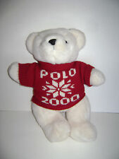"POLO RALPH LAUREN 1999 2000 WHITE TEDDY BEAR PLUSH STUFFED 14"" KNIT RED SWEATER"