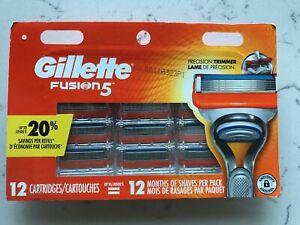 12 BRAND NEW GILLETTE FUSION 5 REFILL RAZOR BLADES, 12 Cartridges