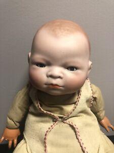 """Antique Bye Lo Baby Doll Blue Eyes 13"""" Copr. Grace S. Putnam As Is"""