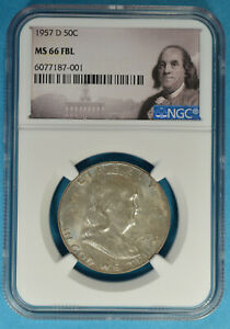 1957-D Franklin Half Dollar NGC MS66FBL- Exceptional Surfaces, Light Tone