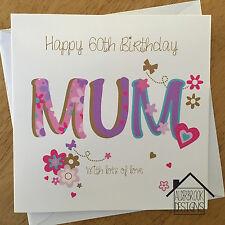 Personalised 60th birthday card mum nan gran grandma Any Age/Name/message