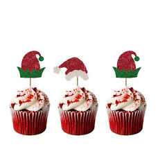 Christmas Santa and Elf Hat Cupcake Toppers - Pack of 8 - Glittery Xmas Cake