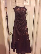 NWT CITY TRIANGLES BROWN GOWN W PINK TAN EMBROIDERED FLOWERS + JEWELS 8-10