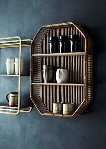 Wall Hung 3 Tier Bamboo Shelf, Mid Century Modern Shelving Display Unit Shelves