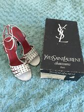 Vintage YSL Yves Saint Laurent White Strapped High Heel Shoes UK 3.5 OriginalBox