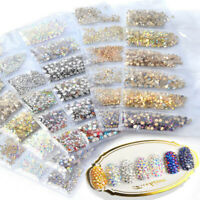 1440pcs Nail Art Rhinestones Glitter Crystal Diamond Gems 3D Tips DIY Decoration