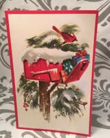 Vintage Mailbox Packages Evergreens Christmas Wishes Mid Century New Card