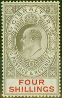 Gibraltar 1910 4s Black & Carmine SG73 Fine Very Lightly Mtd Mint