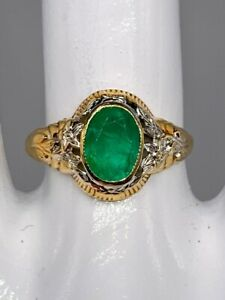 Antique 1930s PSCO $3000 2ct Colombian Emerald 10k Yellow White Gold Band Ring