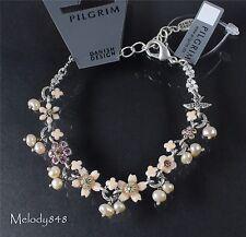PILGRIM Bracelet SWALLOWS & FLOWERS Bird Silver Vintage Nude Pink Swarovski BNWT