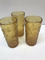VINTAGE SET TIARA AMBER INDIANA GLASS * SANDWICH PATTERN * TUMBLER JUICE GLASSES