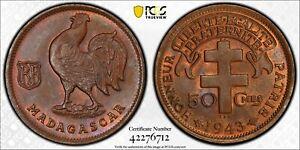 PCGS MS-65 MADAGASCAR 50 CENTIMES 1943 (HIGHEST GRADE!) TOP POP: 1/0