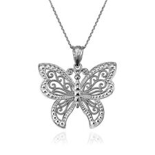 White Gold Filigree Butterfly Midsize Pendant Necklace