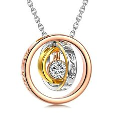 1pc Stainless Steel Ring Necklace Mom and Daughter Son Mother I Love You Family
